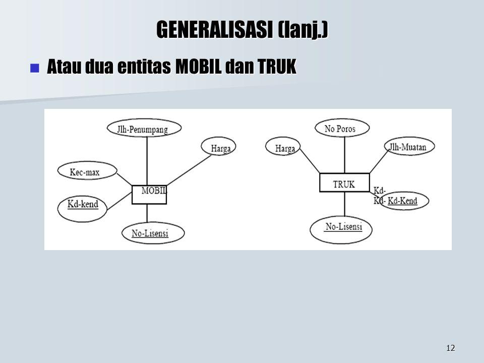 GENERALISASI (lanj.) Atau dua entitas MOBIL dan TRUK