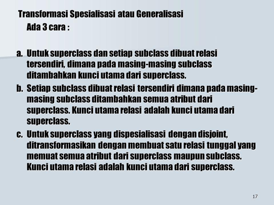 Transformasi Spesialisasi atau Generalisasi