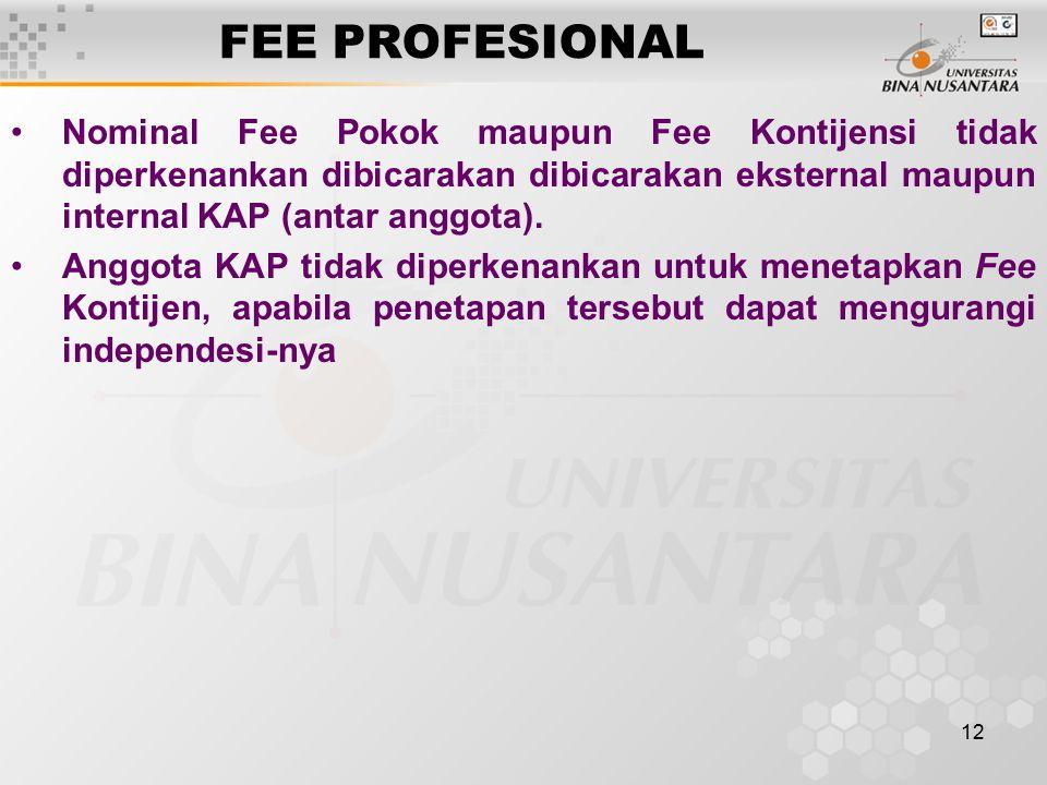 FEE PROFESIONAL Nominal Fee Pokok maupun Fee Kontijensi tidak diperkenankan dibicarakan dibicarakan eksternal maupun internal KAP (antar anggota).