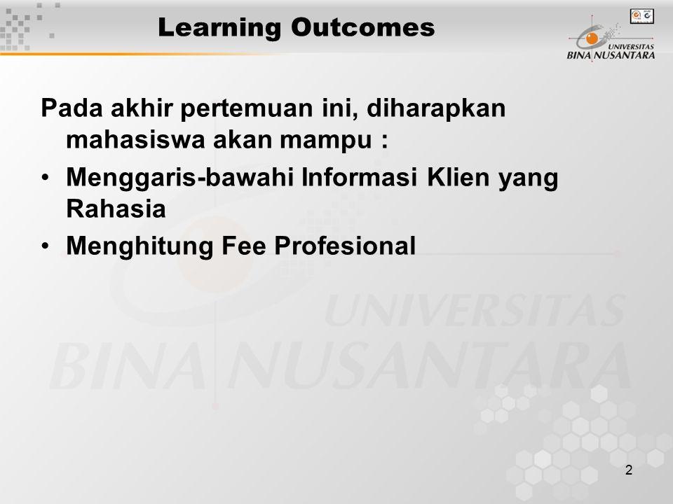 Learning Outcomes Pada akhir pertemuan ini, diharapkan mahasiswa akan mampu : Menggaris-bawahi Informasi Klien yang Rahasia.
