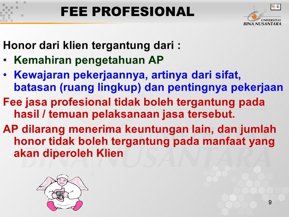 FEE PROFESIONAL Honor dari klien tergantung dari :