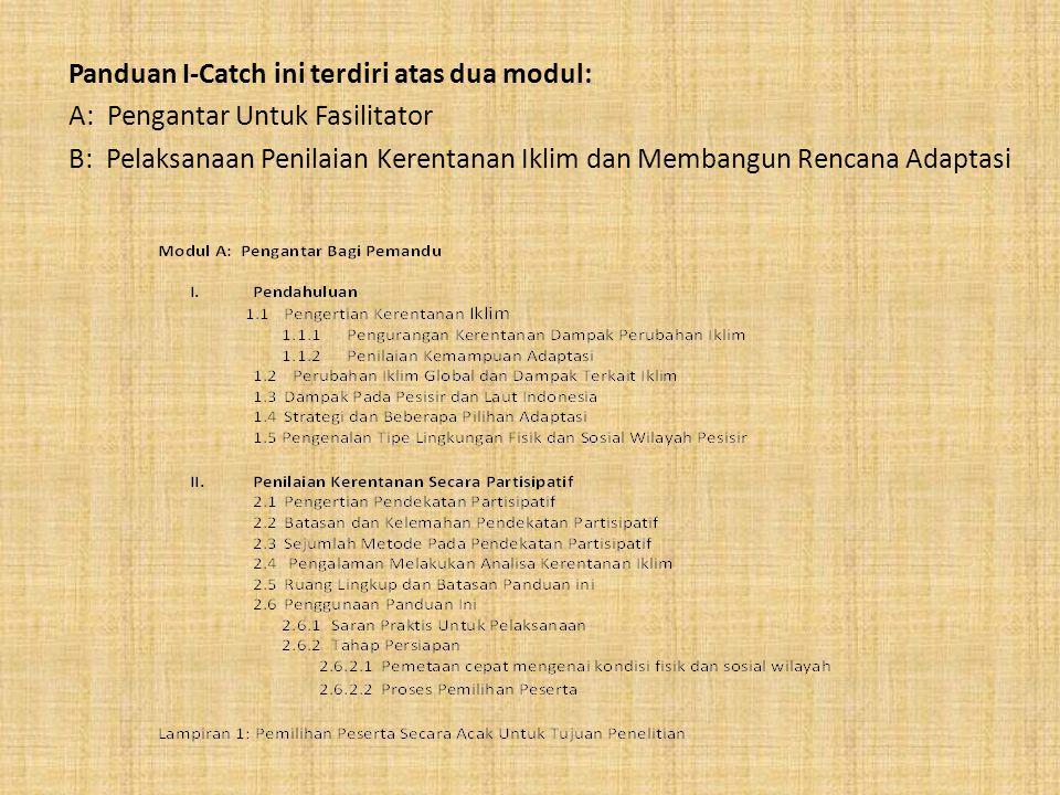 Panduan I-Catch ini terdiri atas dua modul:
