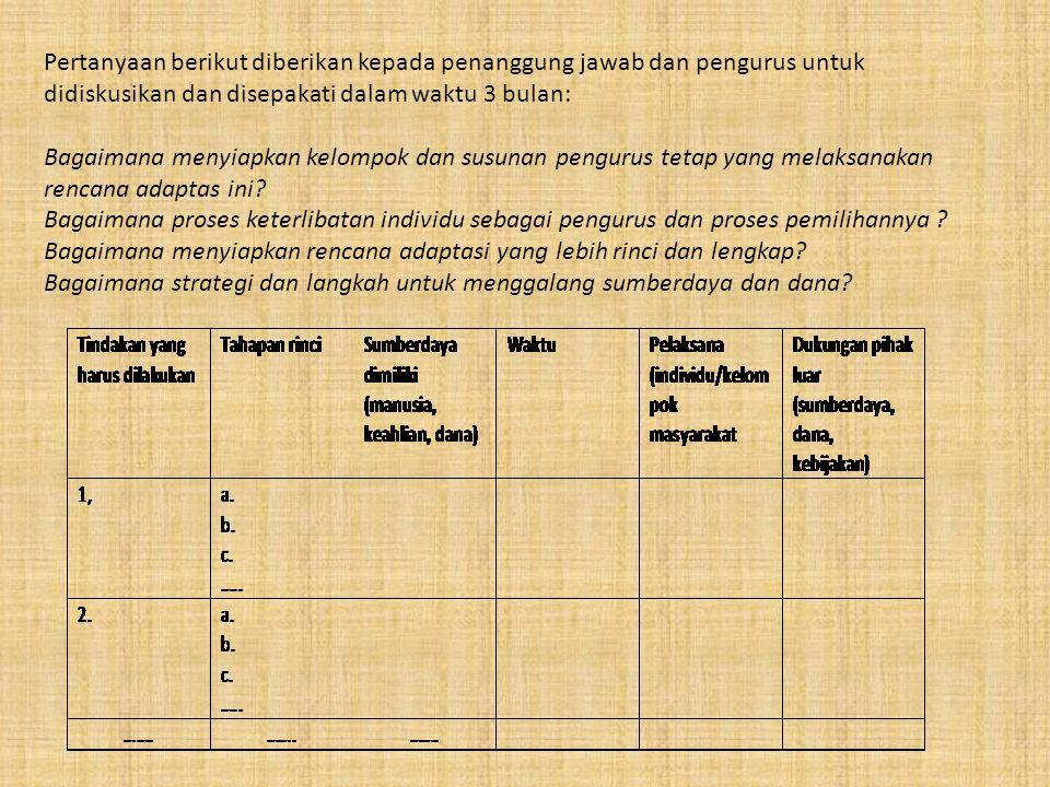 Pertanyaan berikut diberikan kepada penanggung jawab dan pengurus untuk didiskusikan dan disepakati dalam waktu 3 bulan:
