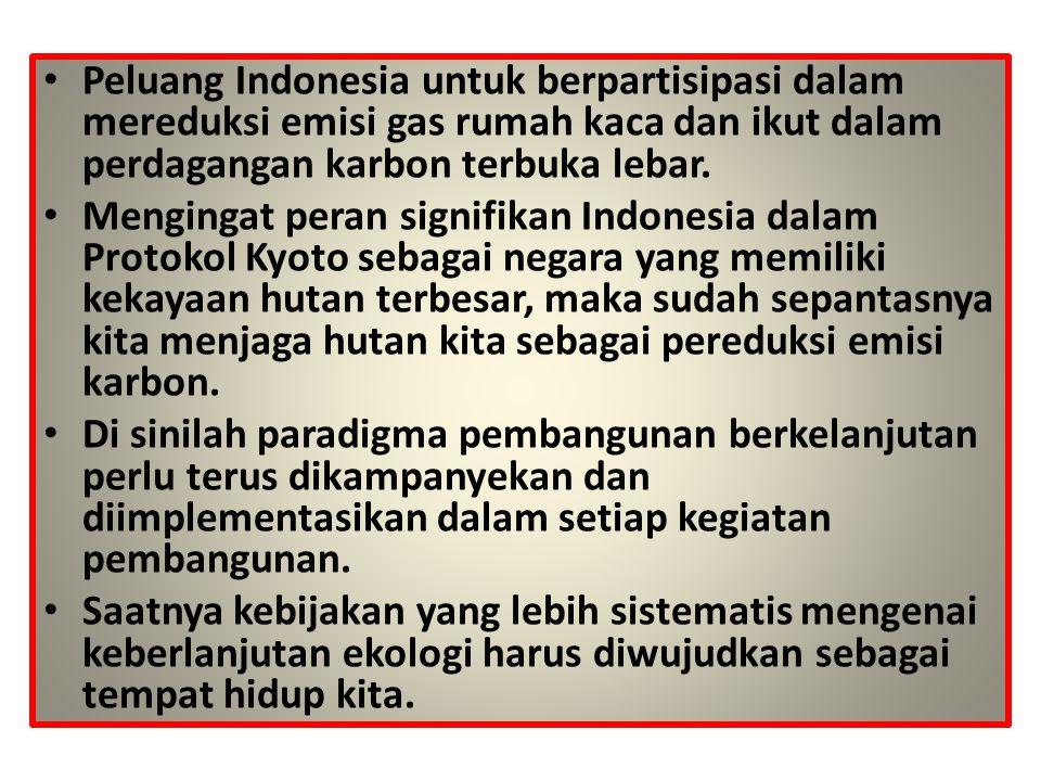 Peluang Indonesia untuk berpartisipasi dalam mereduksi emisi gas rumah kaca dan ikut dalam perdagangan karbon terbuka lebar.