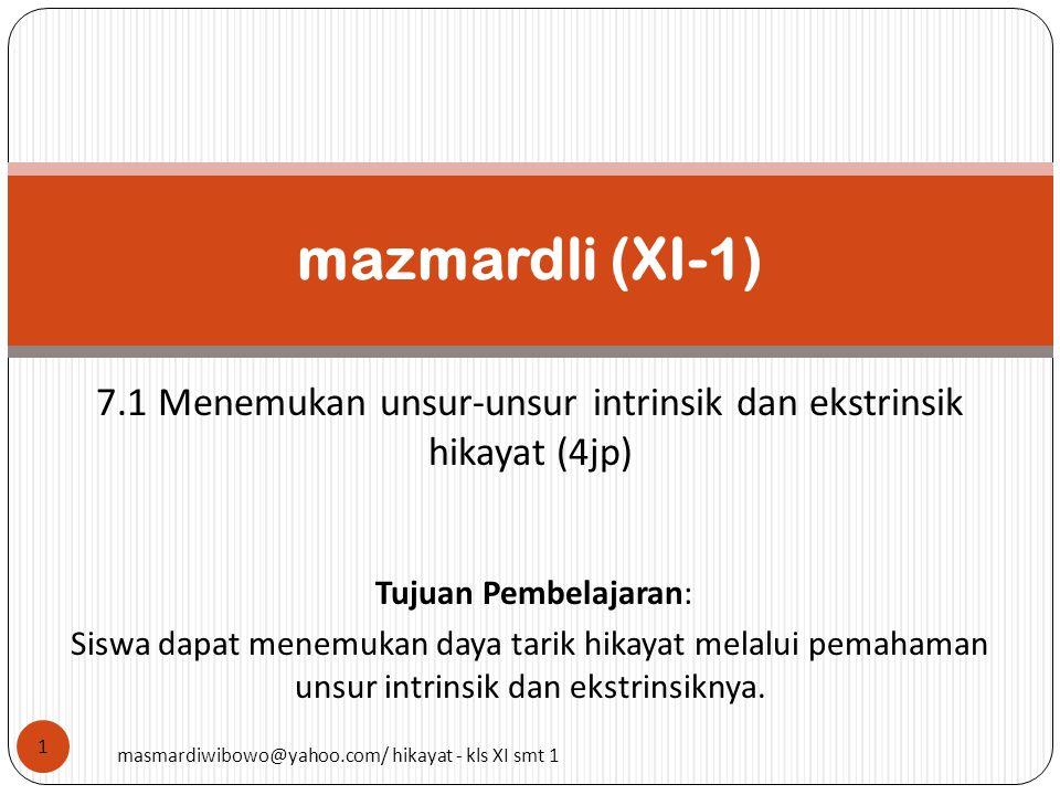 7.1 Menemukan unsur-unsur intrinsik dan ekstrinsik hikayat (4jp)