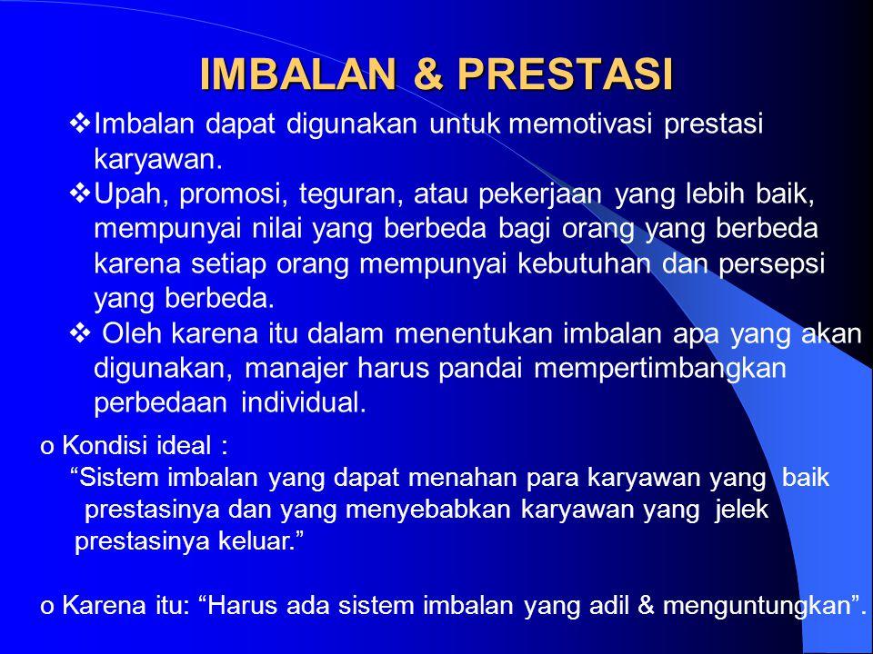 IMBALAN & PRESTASI Imbalan dapat digunakan untuk memotivasi prestasi karyawan.