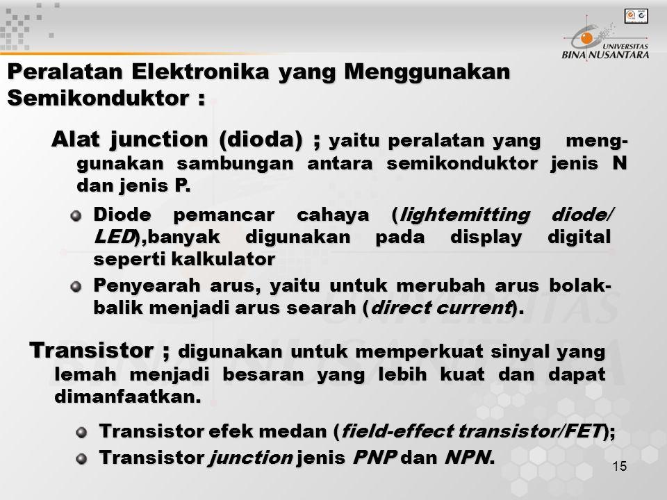 Peralatan Elektronika yang Menggunakan Semikonduktor :