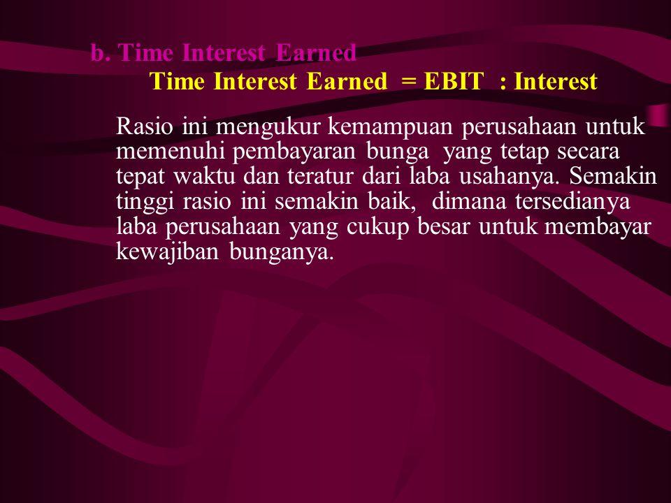 b. Time Interest Earned Time Interest Earned = EBIT : Interest. Rasio ini mengukur kemampuan perusahaan untuk.