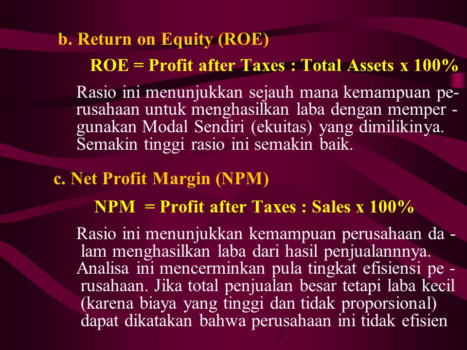 b. Return on Equity (ROE)