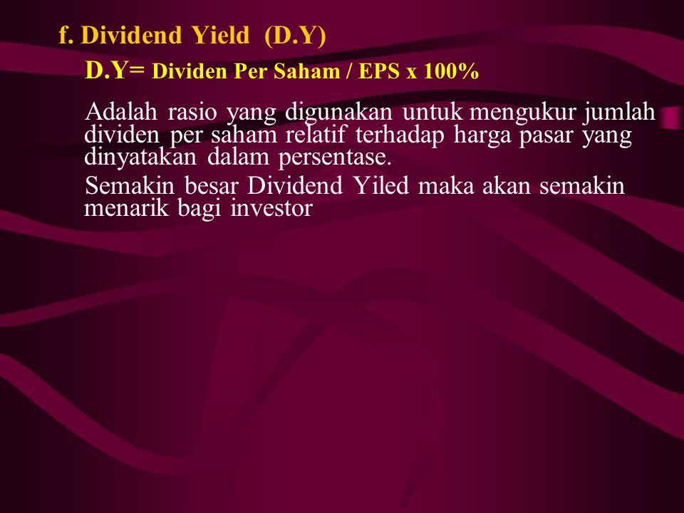 f. Dividend Yield (D.Y) D.Y= Dividen Per Saham / EPS x 100%