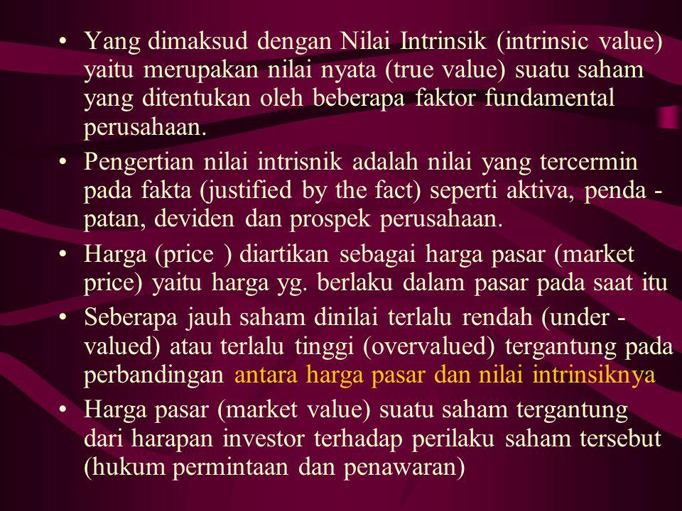Yang dimaksud dengan Nilai Intrinsik (intrinsic value) yaitu merupakan nilai nyata (true value) suatu saham yang ditentukan oleh beberapa faktor fundamental perusahaan.