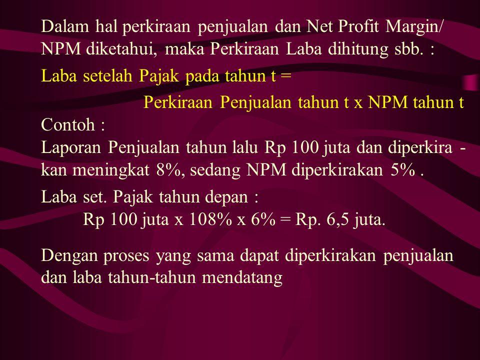Dalam hal perkiraan penjualan dan Net Profit Margin/