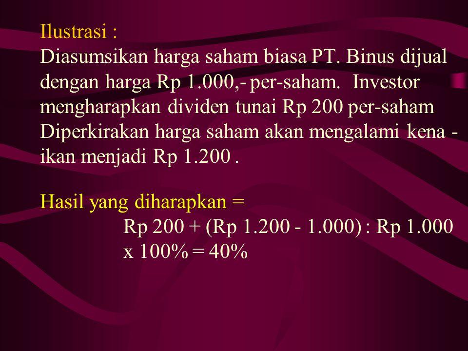 Ilustrasi : Diasumsikan harga saham biasa PT. Binus dijual. dengan harga Rp 1.000,- per-saham. Investor.