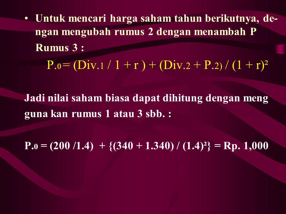P.0 = (Div.1 / 1 + r ) + (Div.2 + P.2) / (1 + r)²