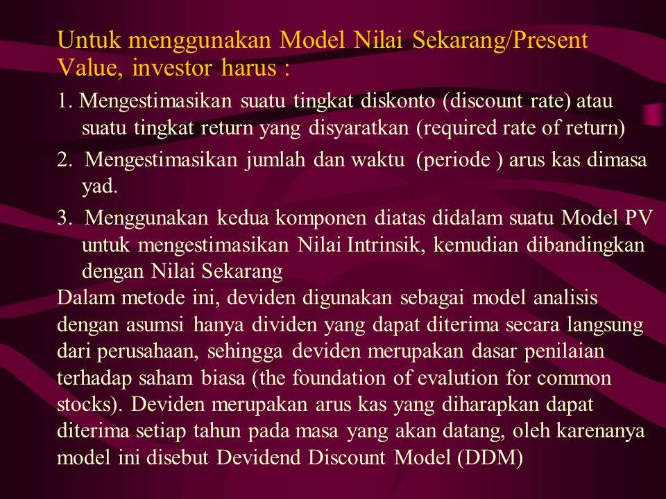 Untuk menggunakan Model Nilai Sekarang/Present Value, investor harus :
