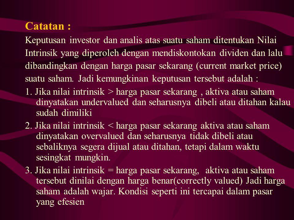 Catatan : Keputusan investor dan analis atas suatu saham ditentukan Nilai. Intrinsik yang diperoleh dengan mendiskontokan dividen dan lalu.