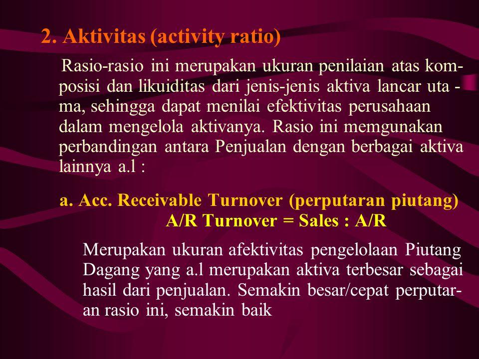 A/R Turnover = Sales : A/R