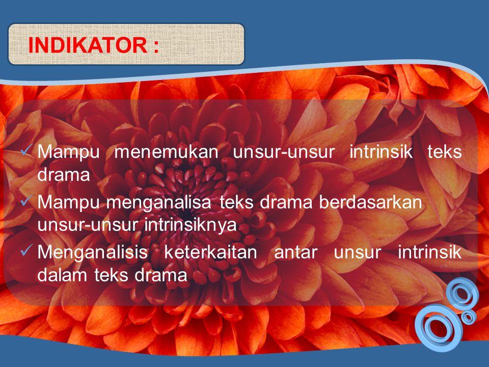 INDIKATOR : Mampu menemukan unsur-unsur intrinsik teks drama
