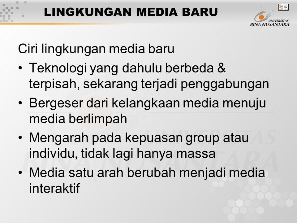 Ciri lingkungan media baru