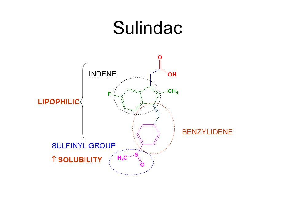 Sulindac INDENE LIPOPHILIC BENZYLIDENE SULFINYL GROUP  SOLUBILITY