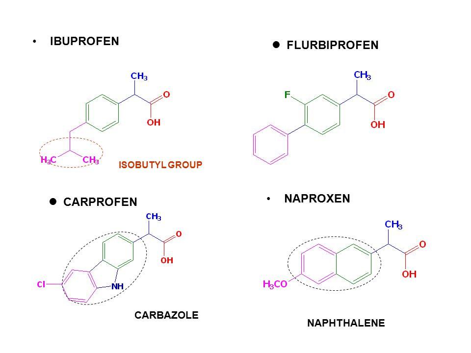 IBUPROFEN FLURBIPROFEN NAPROXEN CARPROFEN CARBAZOLE NAPHTHALENE