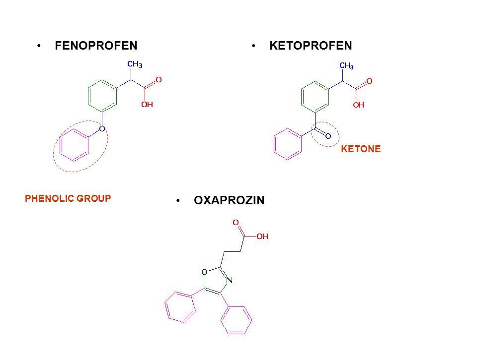 FENOPROFEN KETOPROFEN KETONE PHENOLIC GROUP OXAPROZIN