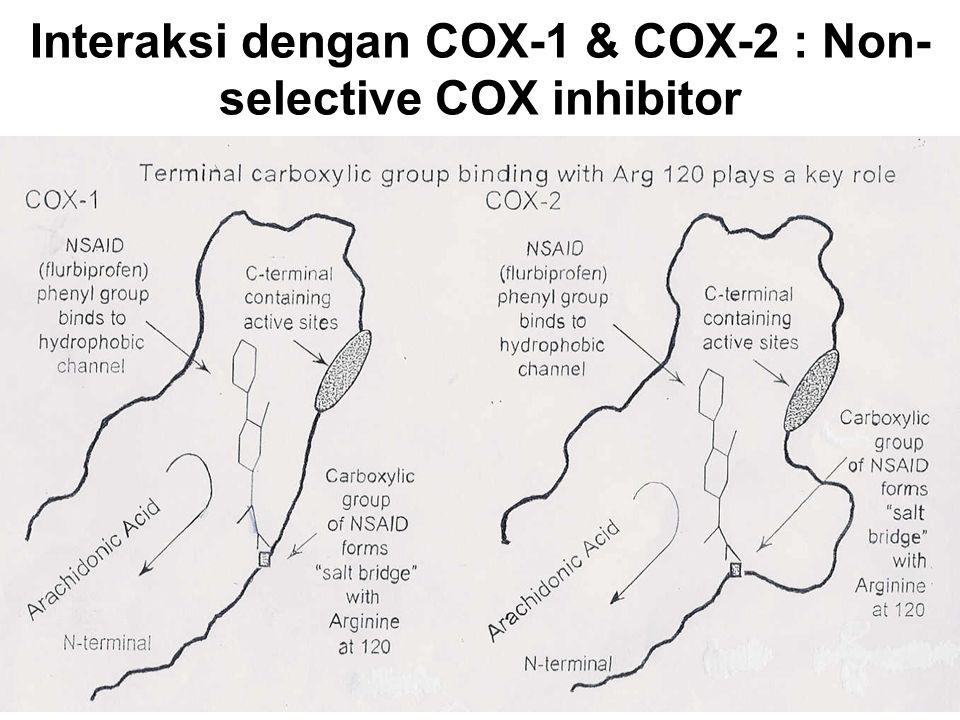 Interaksi dengan COX-1 & COX-2 : Non-selective COX inhibitor
