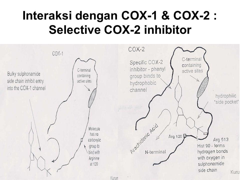 Interaksi dengan COX-1 & COX-2 : Selective COX-2 inhibitor