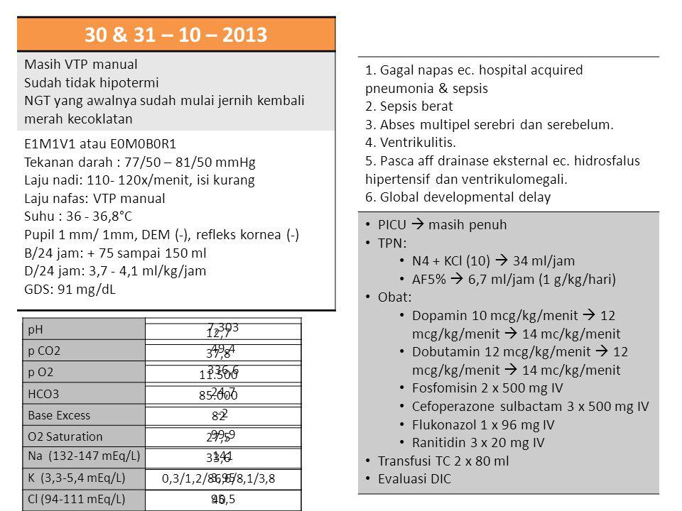 30 & 31 – 10 – 2013 Masih VTP manual. Sudah tidak hipotermi. NGT yang awalnya sudah mulai jernih kembali merah kecoklatan.