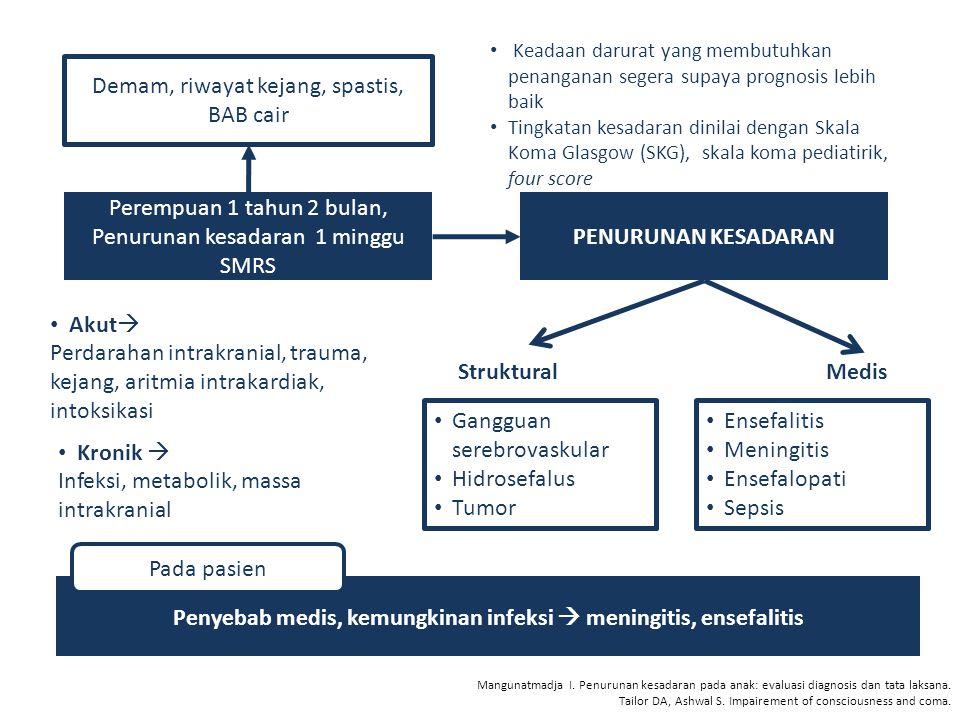 Penyebab medis, kemungkinan infeksi  meningitis, ensefalitis