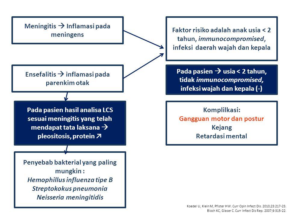 Meningitis  Inflamasi pada meningens
