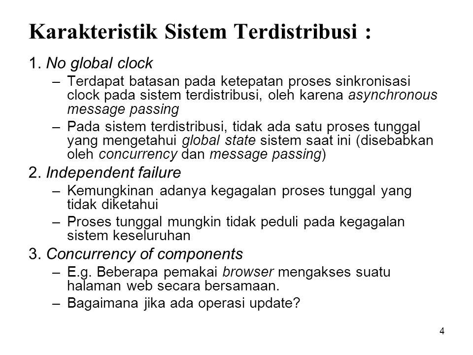 Karakteristik Sistem Terdistribusi :