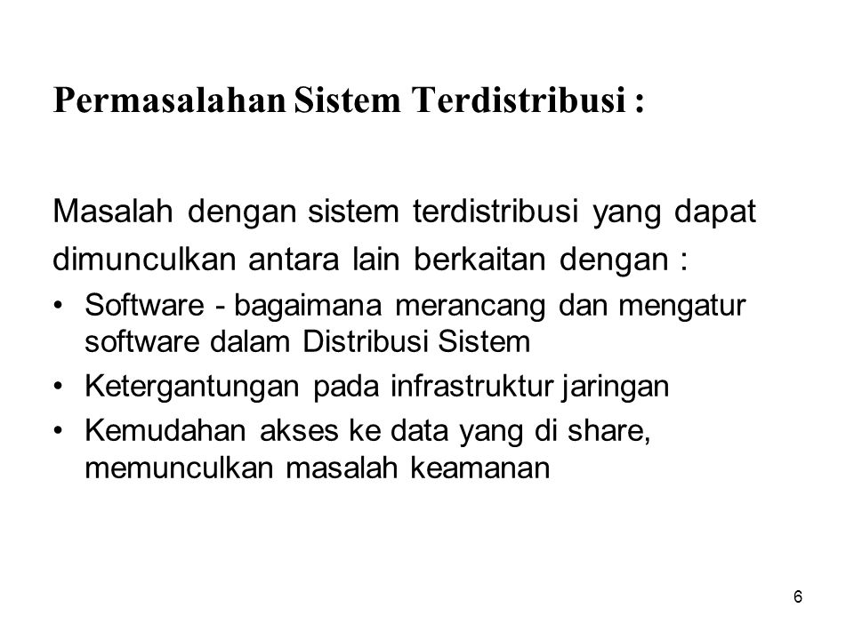 Permasalahan Sistem Terdistribusi :