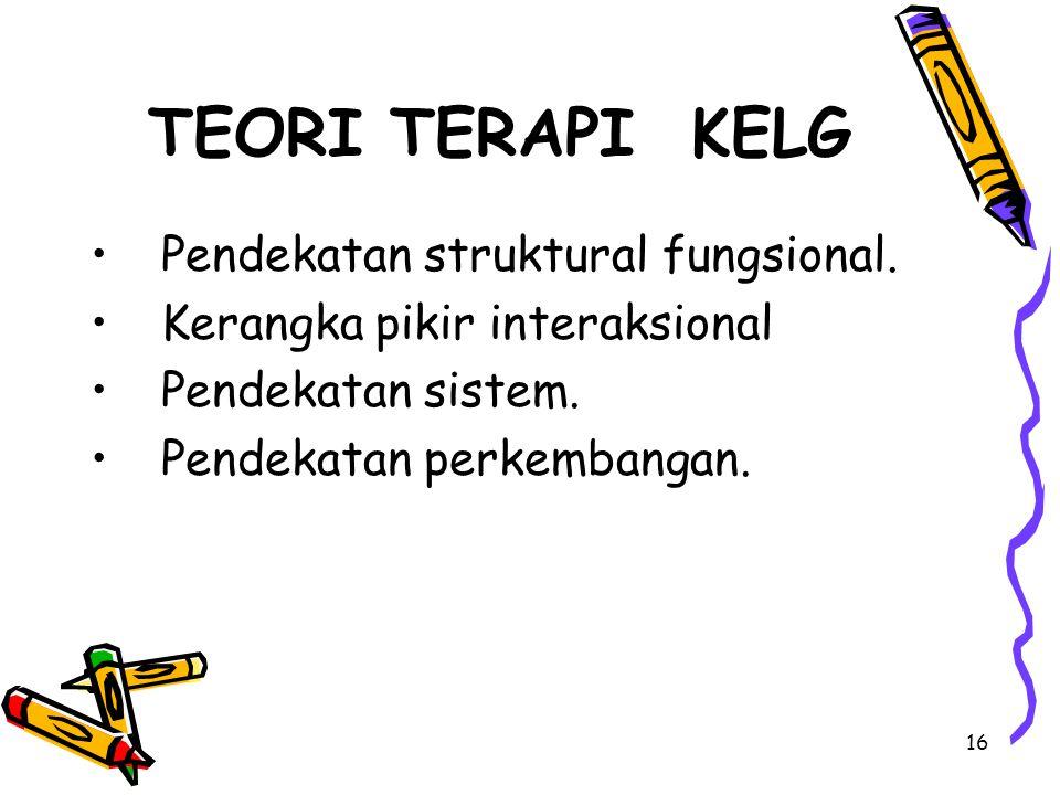 TEORI TERAPI KELG Pendekatan struktural fungsional.