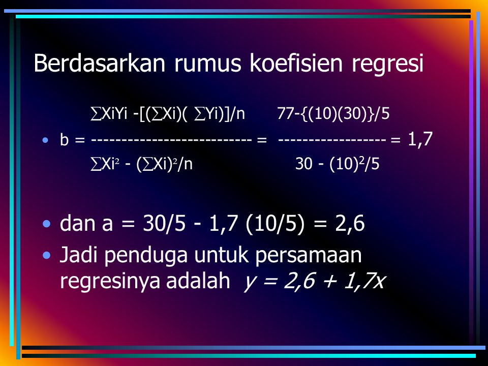 Berdasarkan rumus koefisien regresi