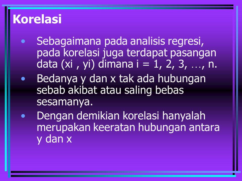 Korelasi Sebagaimana pada analisis regresi, pada korelasi juga terdapat pasangan data (xi , yi) dimana i = 1, 2, 3, …, n.