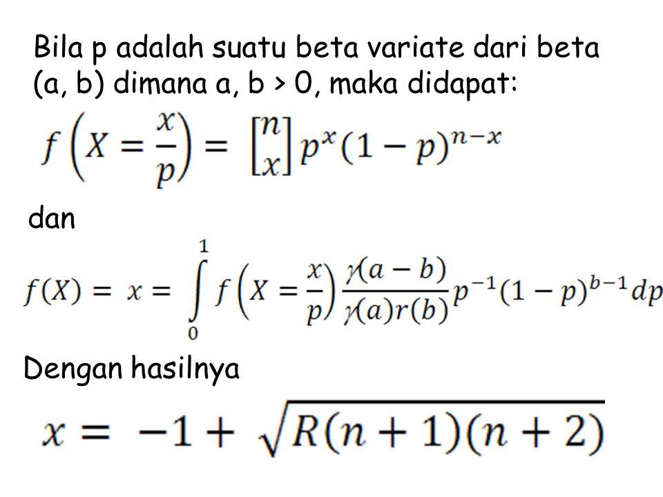 Bila p adalah suatu beta variate dari beta (a, b) dimana a, b > 0, maka didapat: