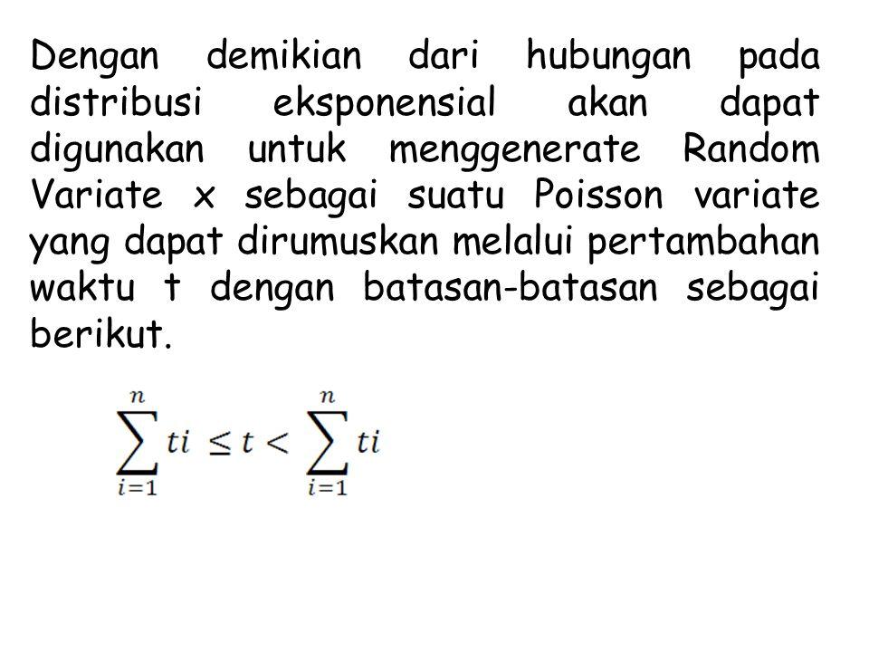 Dengan demikian dari hubungan pada distribusi eksponensial akan dapat digunakan untuk menggenerate Random Variate x sebagai suatu Poisson variate yang dapat dirumuskan melalui pertambahan waktu t dengan batasan-batasan sebagai berikut.