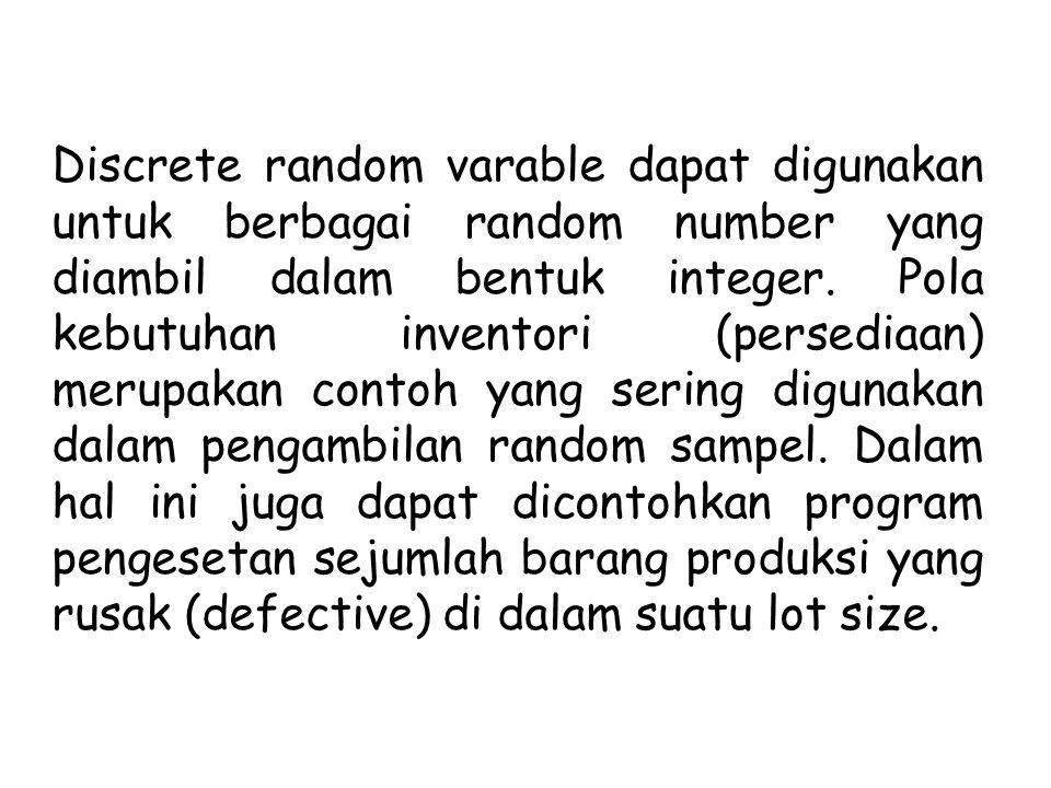 Discrete random varable dapat digunakan untuk berbagai random number yang diambil dalam bentuk integer.
