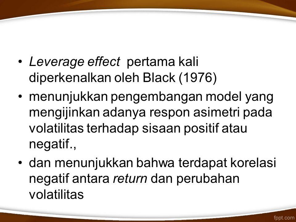 Leverage effect pertama kali diperkenalkan oleh Black (1976)