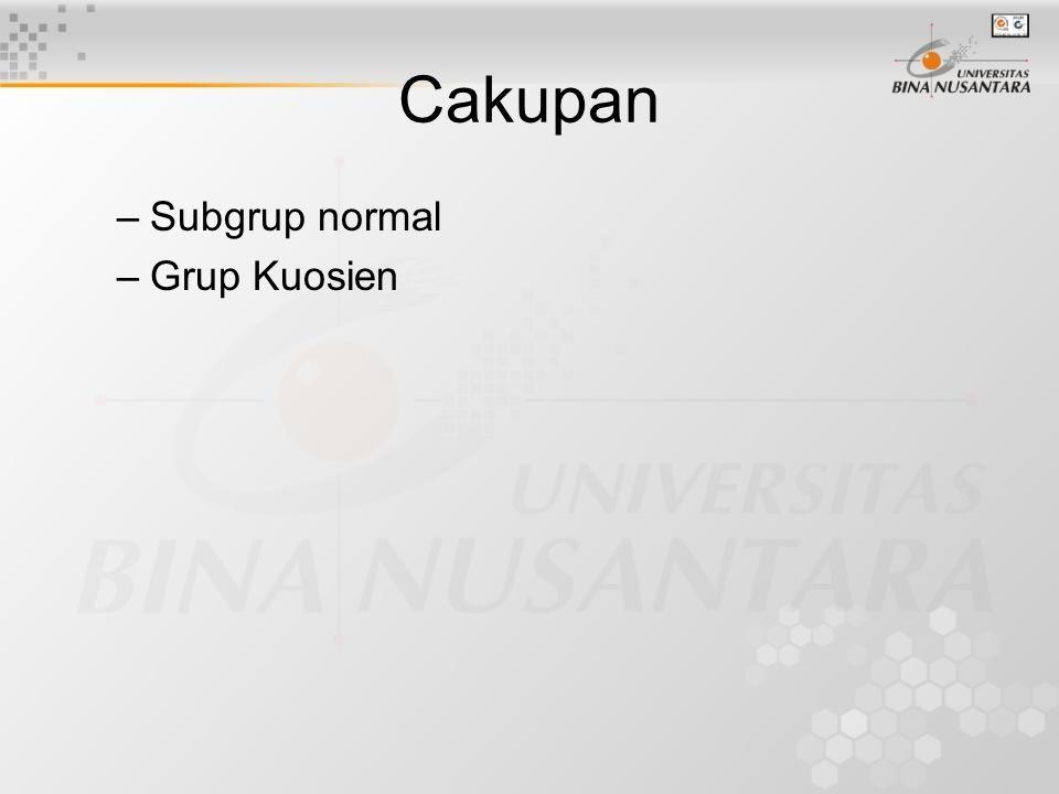Cakupan Subgrup normal Grup Kuosien