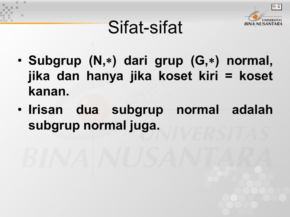 Sifat-sifat Subgrup (N,) dari grup (G,) normal, jika dan hanya jika koset kiri = koset kanan.