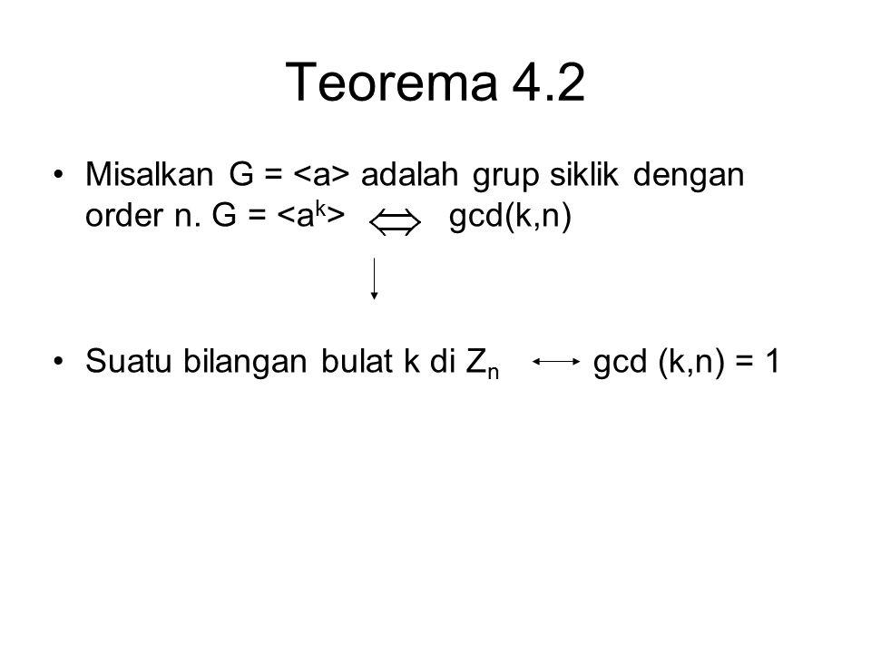 Teorema 4.2 Misalkan G = <a> adalah grup siklik dengan order n.