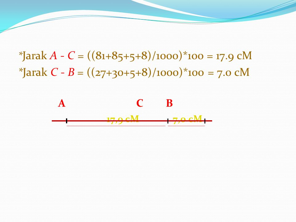 *Jarak C - B = ((27+30+5+8)/1000)*100 = 7.0 cM