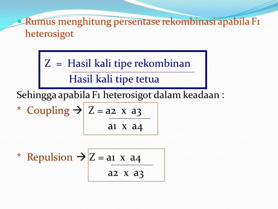 Hasil kali tipe tetua * Coupling  Z = a2 x a3 a1 x a4