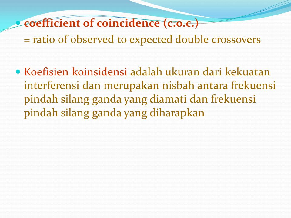 coefficient of coincidence (c.o.c.)