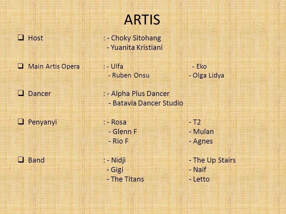 ARTIS Host : - Choky Sitohang - Yuanita Kristiani