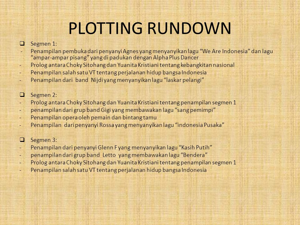 PLOTTING RUNDOWN Segmen 1: