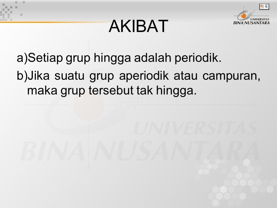 AKIBAT a)Setiap grup hingga adalah periodik.