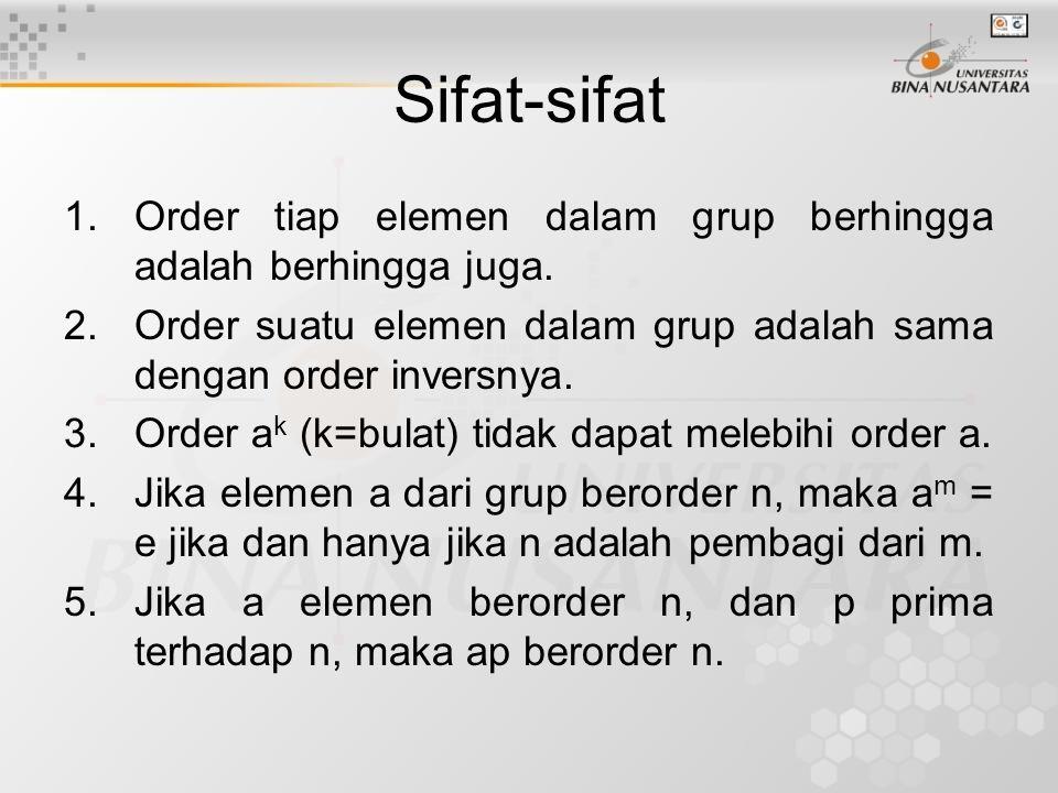 Sifat-sifat Order tiap elemen dalam grup berhingga adalah berhingga juga. Order suatu elemen dalam grup adalah sama dengan order inversnya.